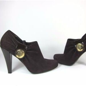 Dark Plum, Leather & Logo Medallion Booties